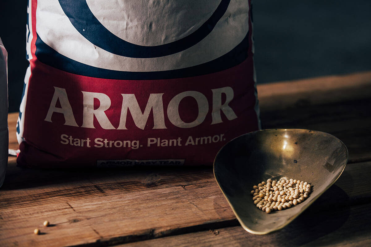 A bag of Armor Beans with a sample for testing